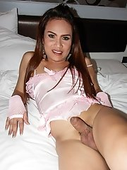 Ladyboy Khawn - Pink Lingerie Blowjob & Barebacking