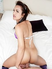 Ladyboy Khawn - Purple Bikini & Socks Bareback