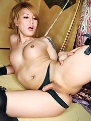 Rui Is A Hot Newhalf Who Is New To Shemale Japan. She Looks Super Hot Stockings And Silk Gloves.