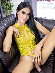 Here Is Ladyboy Cindy In A Nice Outfit Ready To Get Naked And Make Her Cock Cum For Your Viewing Pleasure!